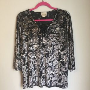 Fashion Bug Paisley Velvet Blouse 18/20